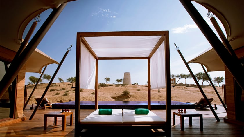 The Ritz Carlton Ras Al Khaimah, Al Wadi Desert, Al Khaimah Tented Poll Villa Terrace and View